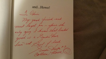 """Autographed to me in his book """"and...Howe"""""""