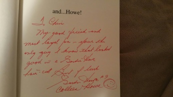 "Autographed to me in his book ""and...Howe"""